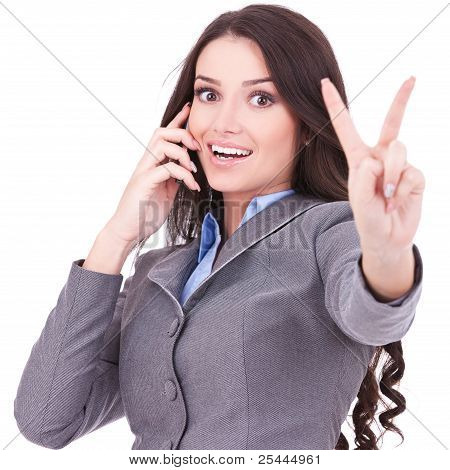 Woman With Phone And Victory Gesture