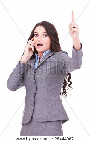 Business Woman On The Phone Winning