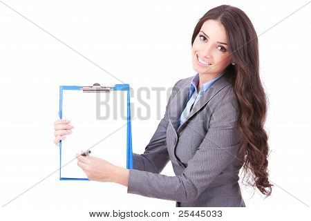 Woman Showing A Contract To Sign