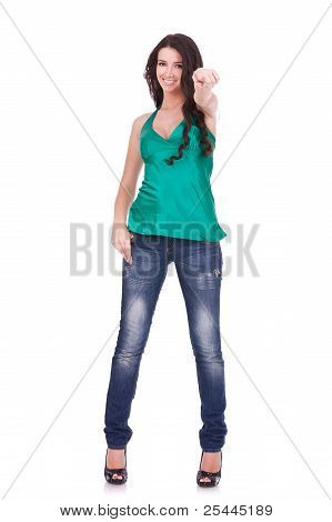 Woman In Casual Clothes, Pointing