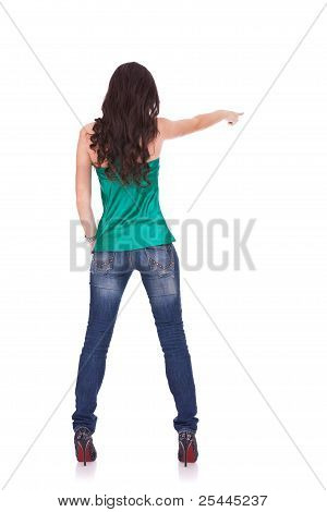 Young Casual Woman Points Finger