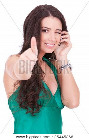 Woman Talking By Cell Phone