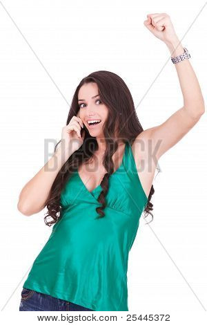 Happy Young Woman Talking To A Cell Phone