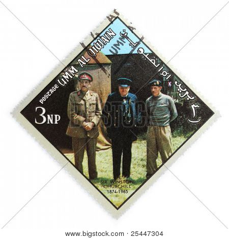 UMM AL-QUWAIN - CIRCA 1970: A stamp printed in Umm al-Quwain shows Sir Winston Churchill with his Field Marshals Sir C.J.E.  Auchinleck and Sir B.L. Montgomery during The Second World War, circa 1970.