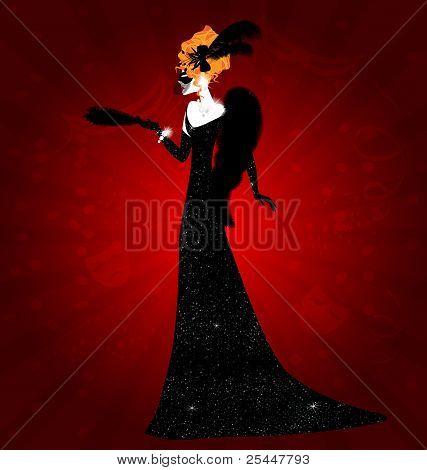 Señora y máscara negra