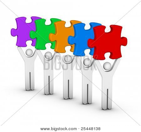 five men with multicolor jigsaw puzzles