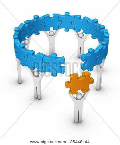 man with last jigsaw piece for puzzle wheel