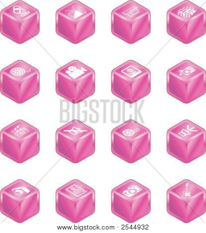 Cube Media Icon Series Set