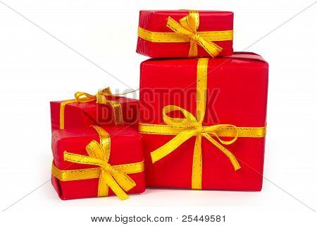 Red Presents With With Yellow Ribbon