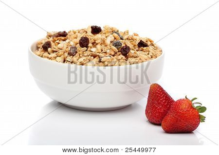 Granola Breakfast On A Bowl Over White Background