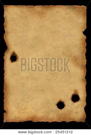 Sheet of an old paper injured by bullets. Isolated over black