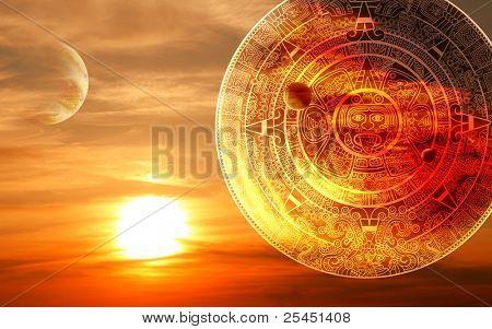 Puesta de sol de fantasía y calendario Maya