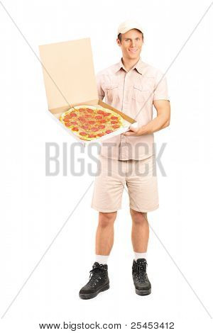 Full length portrait of a delivery boy with clipboard delivering a pizza isolated on white background