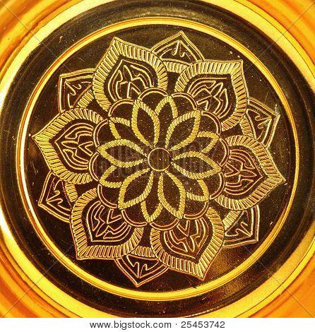 Lotus Pattern On Gold Tray Of Buddha