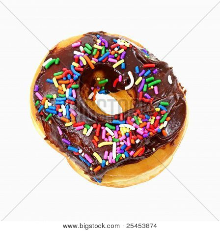 Chocolate Frosted Donut With Sprinkles Overhead View