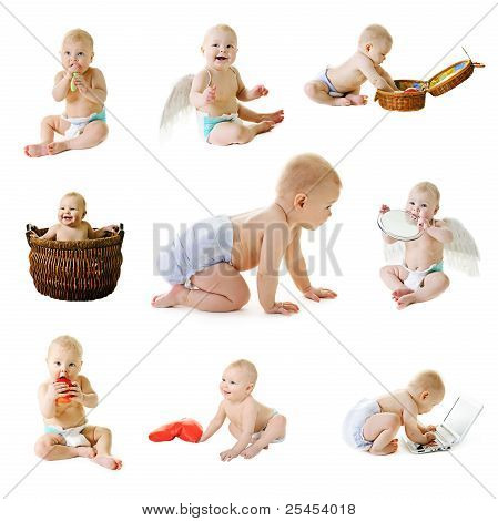 Set from nine baby photos