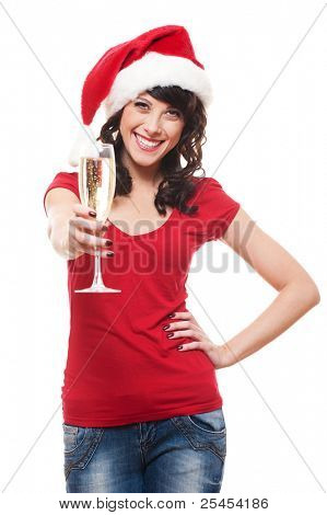 portrait of attractive santa girl with glass. isolated on white background