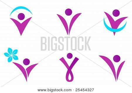 Abstract Fit Woman Icon Isolated On White - Pink.