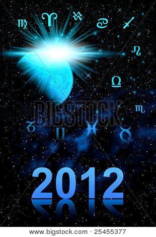 Twelve Symbols Of The Zodiac. Cover For Card 2012 Year