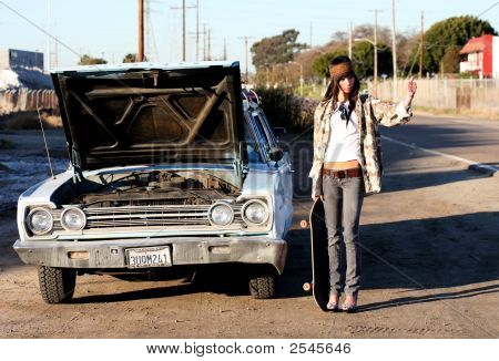 Young Woman With Car Trouble
