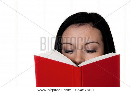 woman with book reading