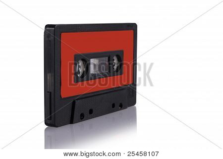Audio Cassette Isolated With Reflection.