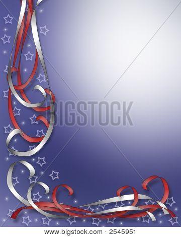 Patriotic  Stars And Ribbons American 3D