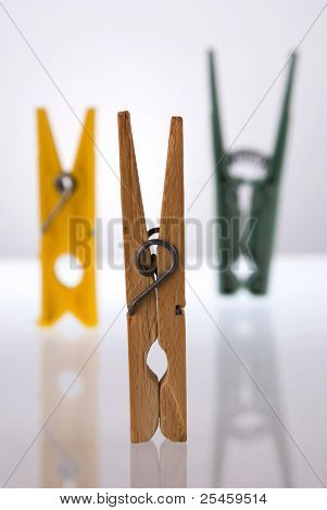 Clothes Pegs With Reflection.
