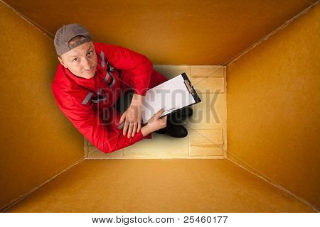 Courier Inside Empty Box