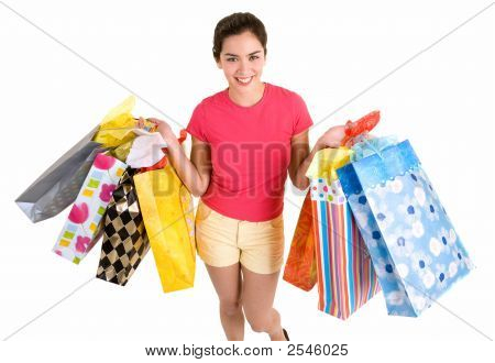 Young Woman On A Shopping Spree