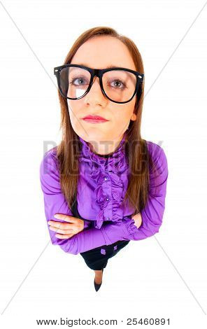 Unsatisfied Businesswoman Top View Wide Angle Full Portrait