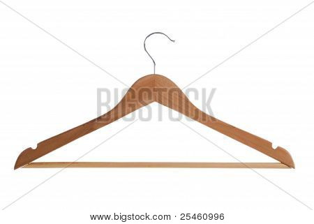 Wooden Hanger Isolated With Clipping Path