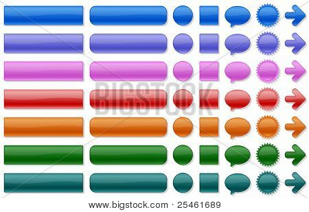 Shiny web buttons in various colors. All elements are separated. File is layered.