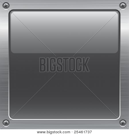 shiny gray button on metal surface