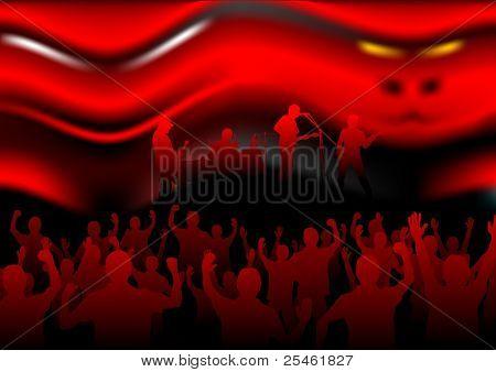 Kings of infernal music before people crowd