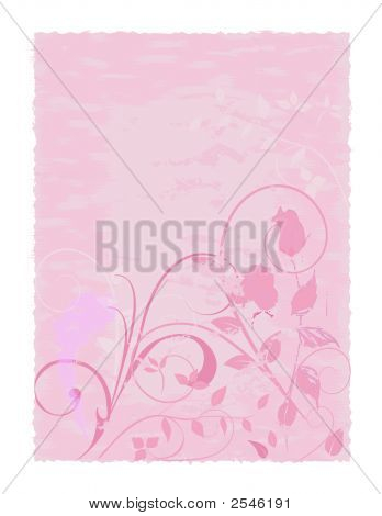 Pink Parchment With Rose Design
