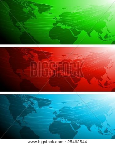 Set of vector banners with world map. Eps 10