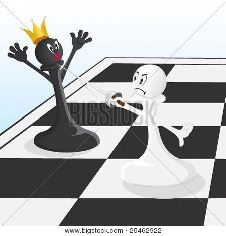 Vector illustration pawn threatening King