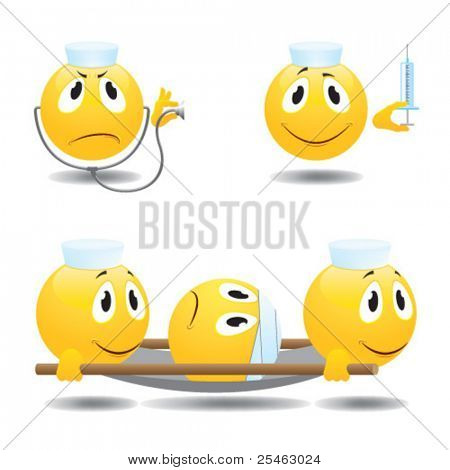 Vector illustration of emoticons doctors