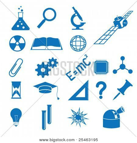 Vector illustration of the icons to subjects of the science