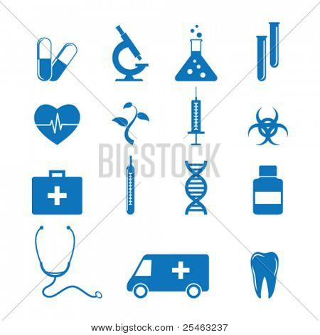 Vector illustration of icons on medicine