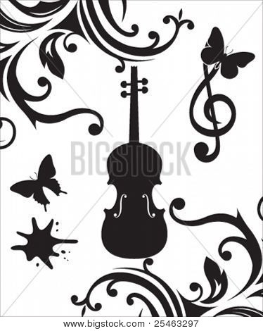 Vector illustration of a violin