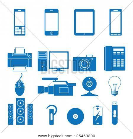Ilustración de vector de los iconos de la electrónica
