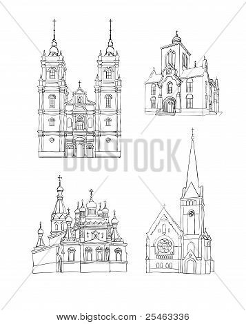 A set of sketches of churches