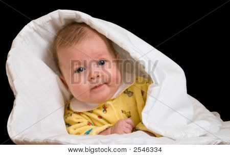Baby In Blanket Over Black