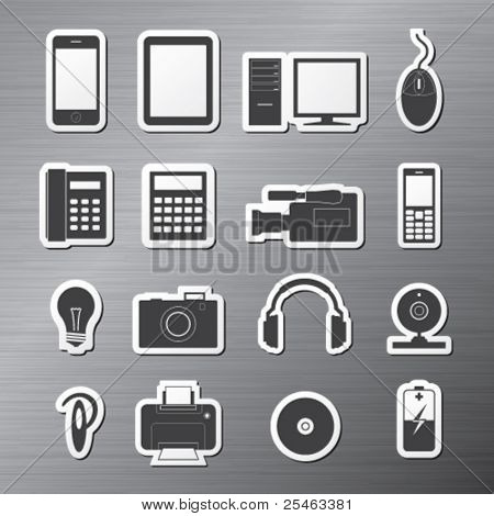Vector illustration of sixteen icons on electronics
