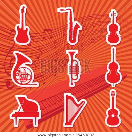 Vector illustration of icons of musical instruments