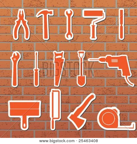 Vektor-Illustration von Tools an der Wand