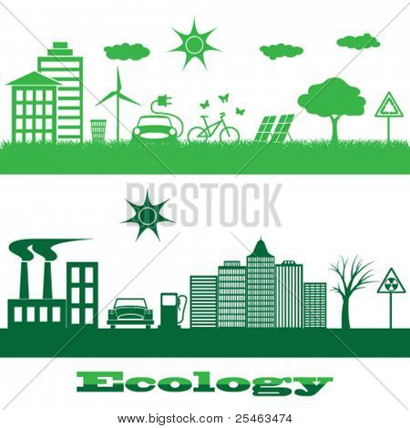 Vector illustration of icons on the theme of ecology