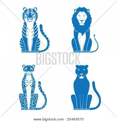 Ilustración del vector de un guepardo León de tigre y Pantera
